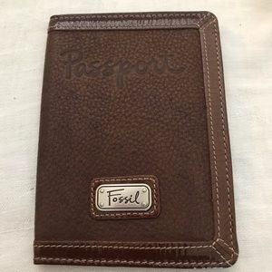 Fossil brown all leather passport holder